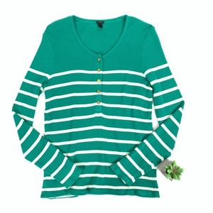 J. Crew L/S Striped Waffle Knit Henley Thermal Tee